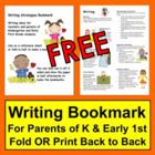 Writing Bookmark - Kindergarten and Early Grade One Parents