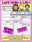 Writing Center - Writing A List Activity