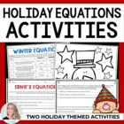 Writing Equations Christmas Holiday Activity