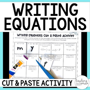 Writing Equations Matching Activity
