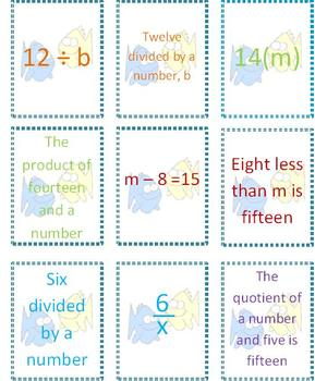 Writing Expressions & Equations ~ An Algebra Card Game