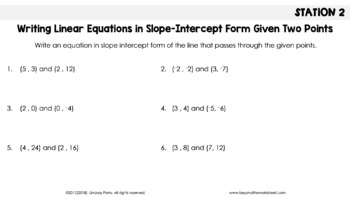 Writing Linear Equations Stations