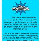 Writing Mechanics Poster (COPS) in Turquoise with Bookmark