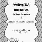 Writing Mini Office for Upper Elementary- BLACK & WHITE version