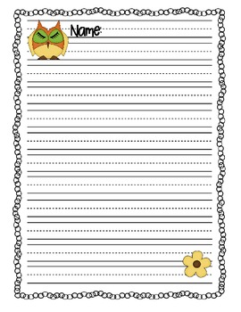 Writing Paper Owl Theme