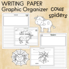 Writing Paper and Graphic Organizer for Spiders and Cows