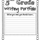 Writing Portfolio Cover for Grades 2-6