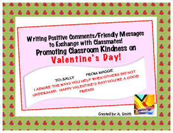 Writing Positive Comments to Others: Valentine's Activity