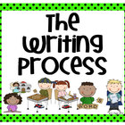 Writing Process Posters - Bright Green with Black Polka Dots