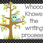 Writing Process posters: black and white polka dot with owls