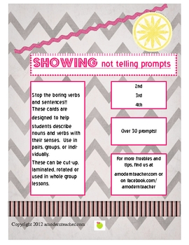Writing Prompts: Show Not Tell!  2nd, 3rd, 4th