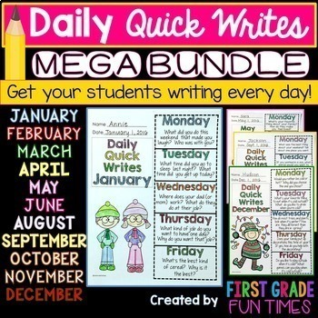 First Grade Writing - Quick Writes BUNDLE Oct.- June  Writ