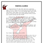 Writing Sample: Graduation Speech