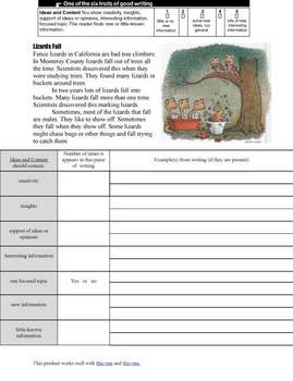 Writing: Six Traits Worksheets Ideas and Content