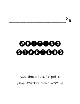 Writing Starters - FREEBIE!