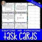 Writing and Solving Equations and Expressions Task Cards