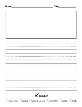 Writing paper with self-editing checklist for kindergarten