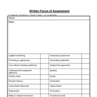 Written Focus of Assessment