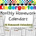 Year Long Kindergarten Monthly Homework Calendars