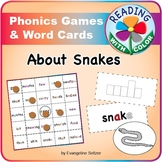 Read about Snakes: Sample Phonics Game with Color Hints on Vowels