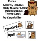 Yorkie Calendar Pieces - Monthly Headers, Date Cards & Spe