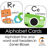 ZB Manuscript Alphabet Line and Word Wall Headers (Bright
