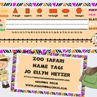 ZOO SAFARI NAME TAGS & DESK PLATES