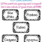Zebra Classroom Supply Labels ~ Set of 36 with 6 FREE afte