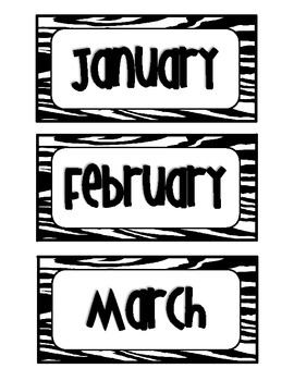 Zebra Months & Days {Freebie}
