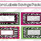 Label Savings Package: Zebra with hot pink & lime green, 1