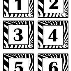 Zebra Print Bin #&#039;s Calendar, Months &amp; Days, Clock Minutes