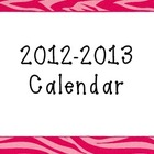 Zebra Print Calendar 2012-2013