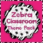 Zebra Print Classroom Materials Theme Pack