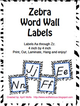Zebra Print Word Wall Labels 4 by 4