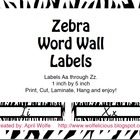 Zebra Print Word Wall Labels