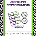 Zebra Word Wall Headers and Cards - High Frequency Words -