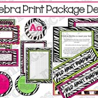 Zebra with Hot Pink/Lime Green Decor Package - For Download