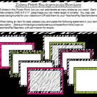 Zebra with hot pink/lime green accent borders