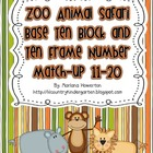 Zoo Animal Safari Base Ten and Ten Frame Number Match 11-2