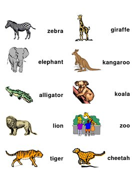 Zoo Word Wall Labels