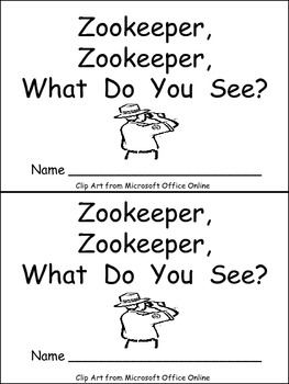 Zookeeper What Do You See Emergent Reader Kindergarten Preschool