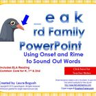 _eak Word Family PowerPoint  for K, 1st or 2nd Reading Pho