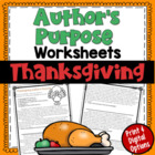 Author's Purpose PIE'ED worksheet (Thanksgiving)