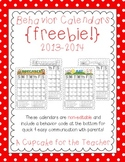 behavior calendars {freebie!} 2013-2014