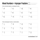 change mixed numbers to improper fractions worksheet