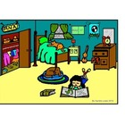 clipart BEDROOM Spanish describing room color/BW activity