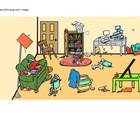 clipart, messy living room - no words - multi-lingual
