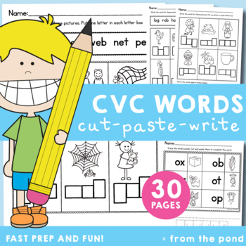 cvc Cut, Paste & Write Worksheets