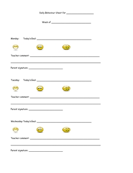daily behaviour sheet