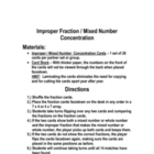 fractions - Improper Fraction / Mixed Number Concentration Game